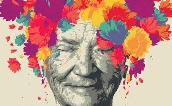 Mulher idosa com flores na cabeça