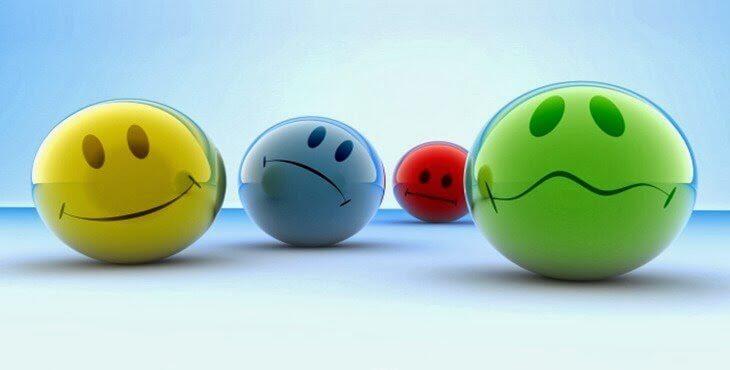 Bolas coloridas representando as emoções