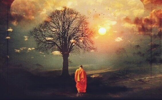 Monge budista rezando