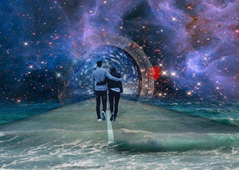 Casal caminhando por mundo mágico no futuro
