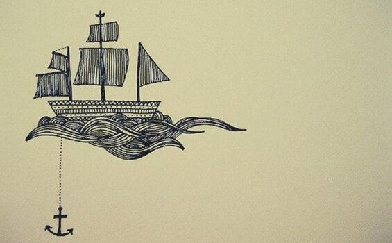 Desenho de barco com âncora