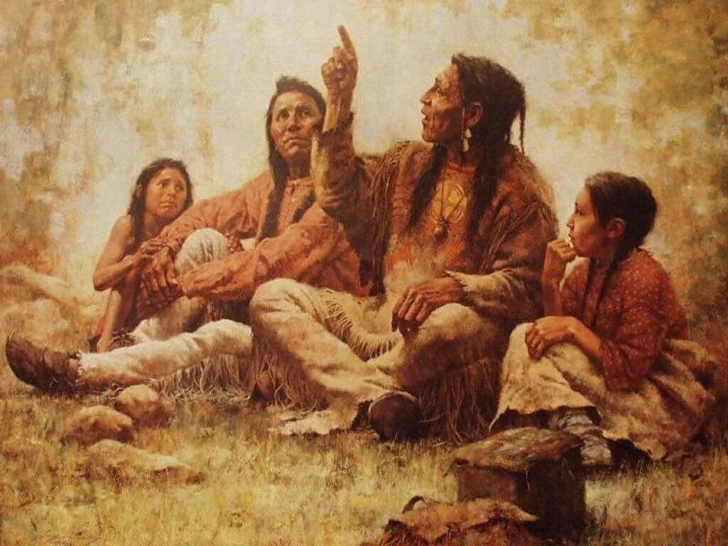 Índios contando histórias