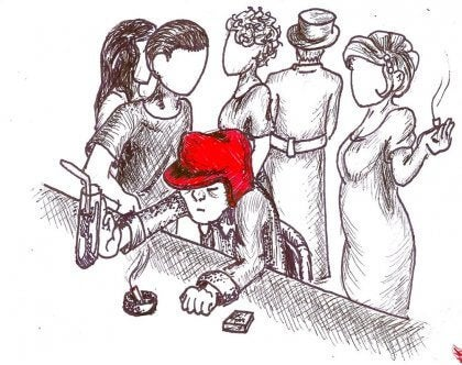 Pessoa com chapéu vermelho em bar