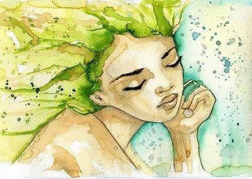 Ilustração de mulher com cabelos verdes