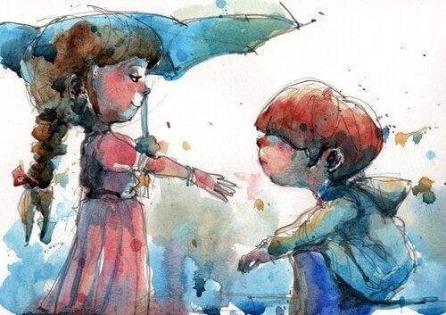 Menina ajudando menino pequeno