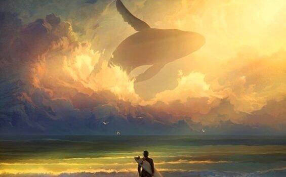 Baleia voando no céu