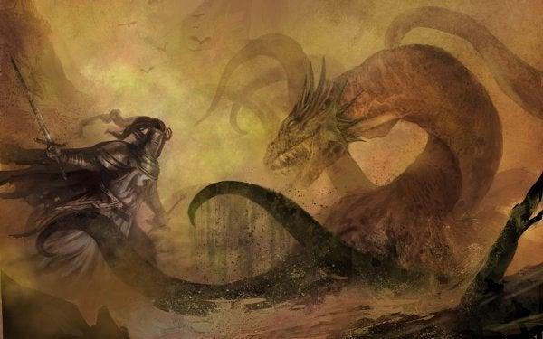 Cavaleiro combatendo dragão