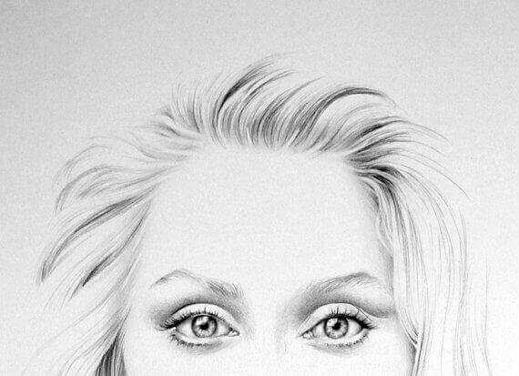 Desenho do rosto de Meryl Streep