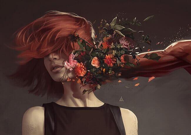 Mulher tomando soco de flores