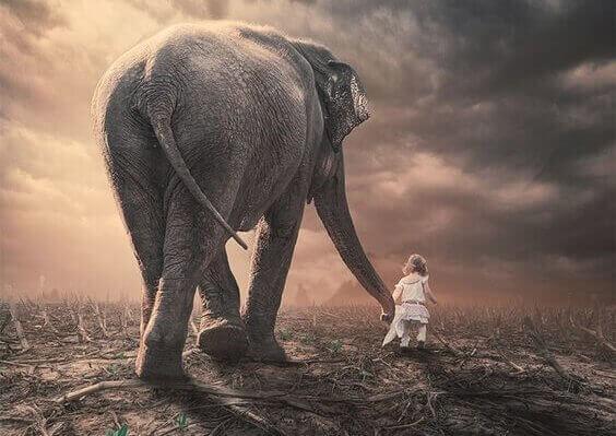 Menina com elefante