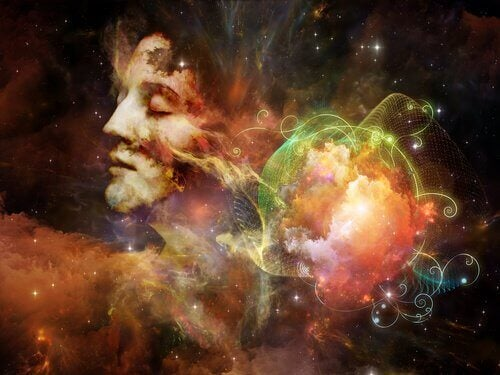 Rosto de mulher em meio ao universo