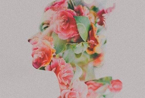 Perfil feminino com flores desenhadas