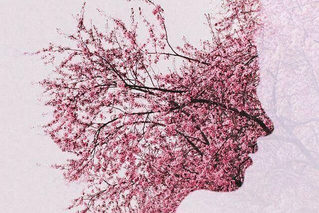 Galhos e flores formando rosto