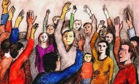 Pessoas levantando a mão