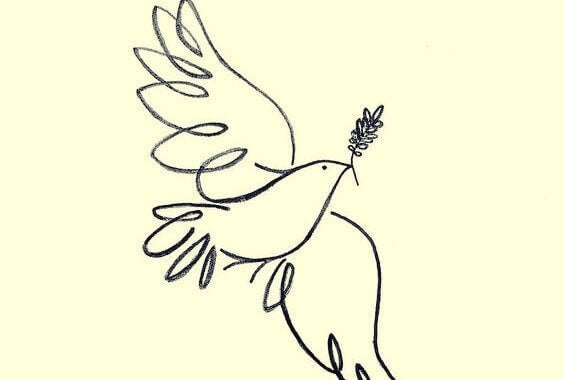 Pomba da paz voando