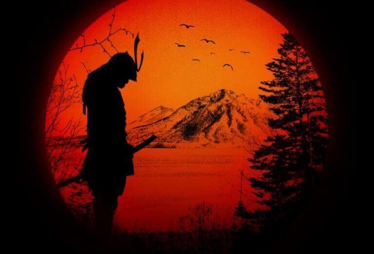 Samurai no por do sol