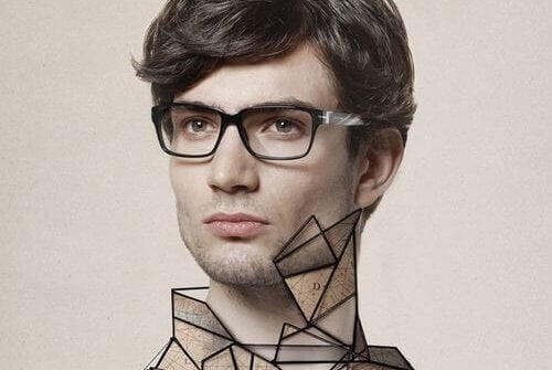 Homem com roupa geométrica