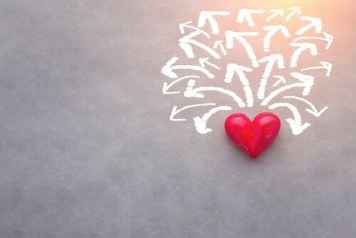 Coração com setas em várias direções