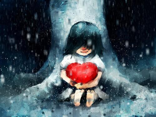 Menina sentada em árvore segurando coração