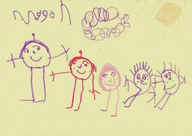 Desenho de uma família