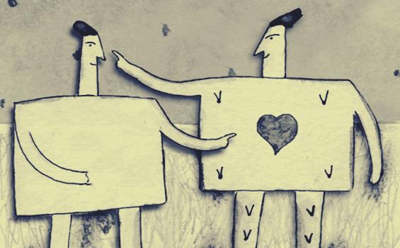 Coração em homens quadrados