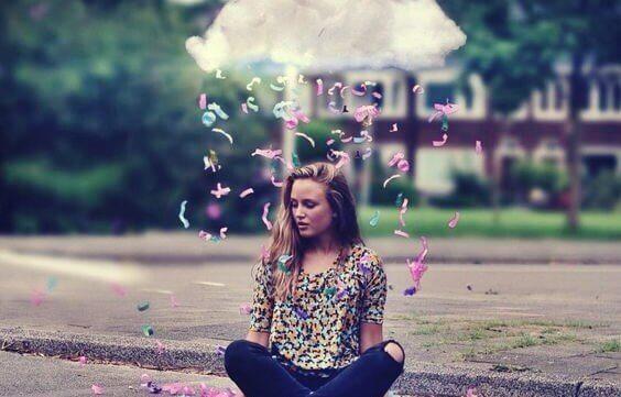 Nuvem de confeitos coloridos