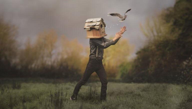 Homem com casa de pássaro na cabeça