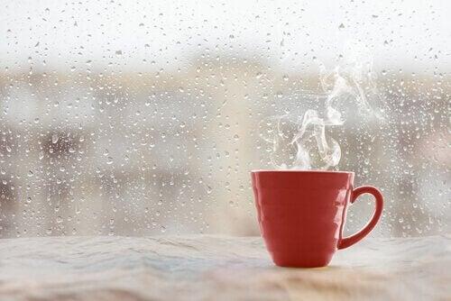 Café quente em um dia chuvoso