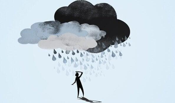 Chuva caindo e simbolizando a depressão