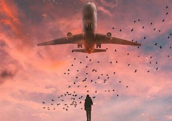 Pessoa observando avião