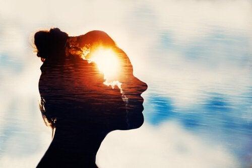 Perfil de mulher com sol nascendo