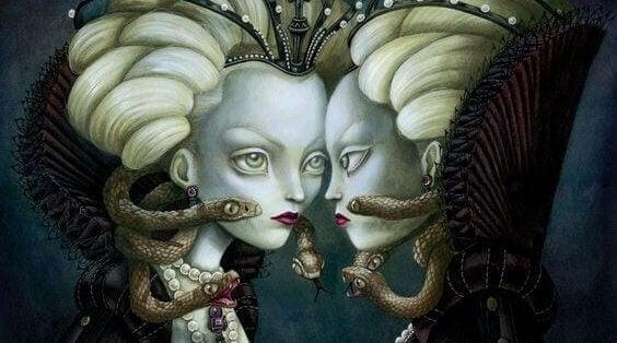 Medusa se olhando no espelho