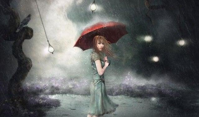 Mulher com guarda-chuva na chuva