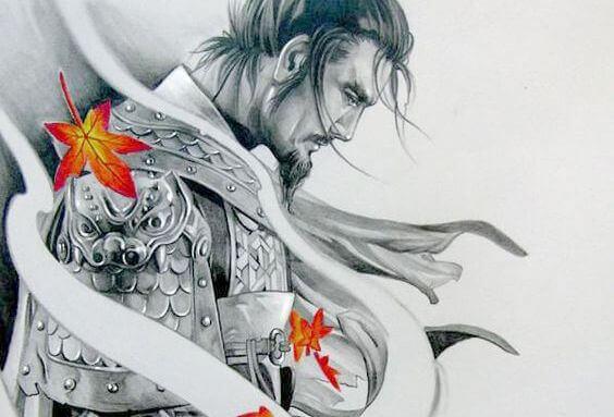Samurai olhando para baixo