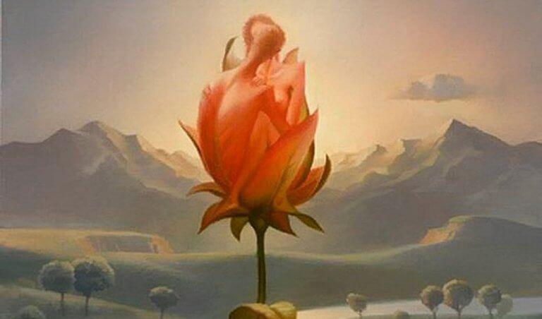 Flor gigante em paisagem de montanha