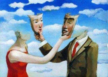 Casal com máscaras