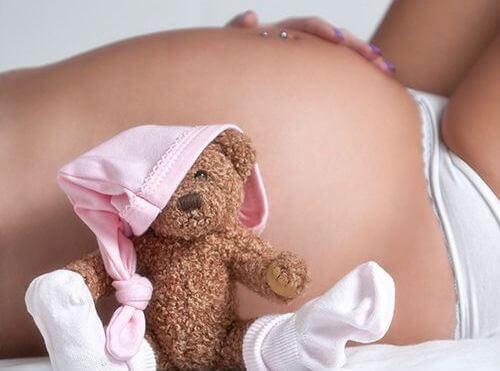 Mulher grávida com ursinho de pelúcia