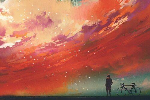 Homem observando céu estrelado