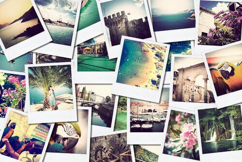 Fotos com lembranças de viagem