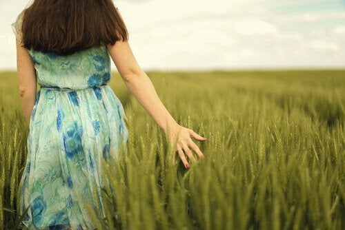 Mulher andando em campo de plantas
