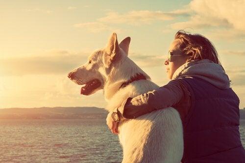 Mulher abraçada com seu cachorro