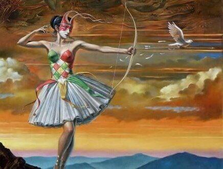 Bailarina usando arco e flecha
