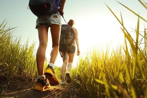 Amigas fazendo caminhada na natureza