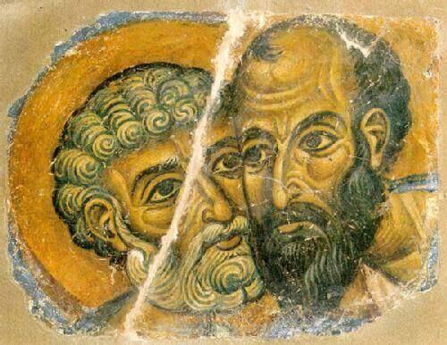 Pintura de homens com rostos unidos