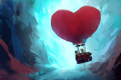Casal em um balão de coração