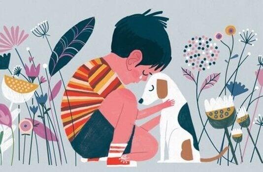 Menino consolando seu cachorro