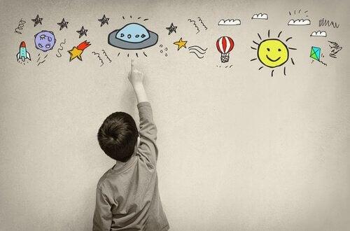 Criança usando sua imaginação