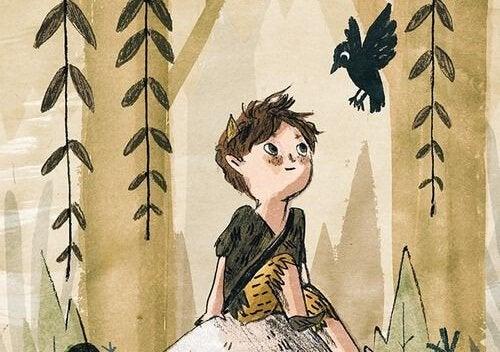 Criança curiosa em floresta