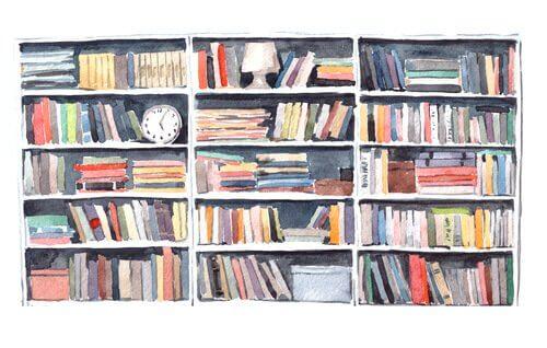 Estante de livros em casa