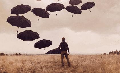 Diversos guarda-chuvas representando a depressão